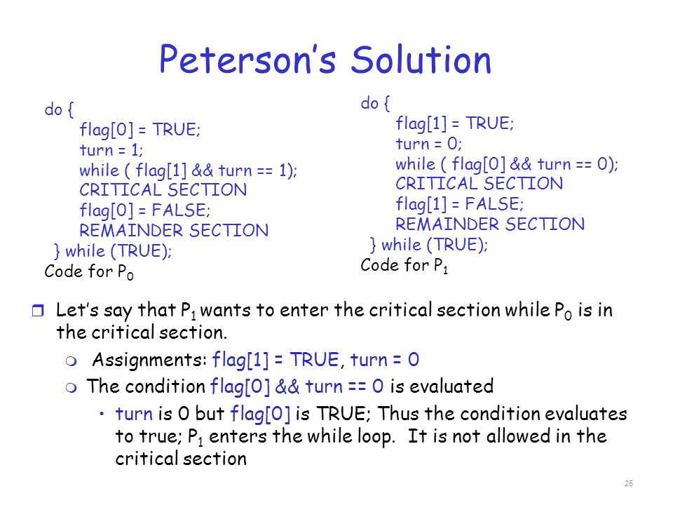 Peterson's Solution do { flag[1] = TRUE; turn = 0; while ( flag[0] && turn == 0); CRITICAL SECTION.